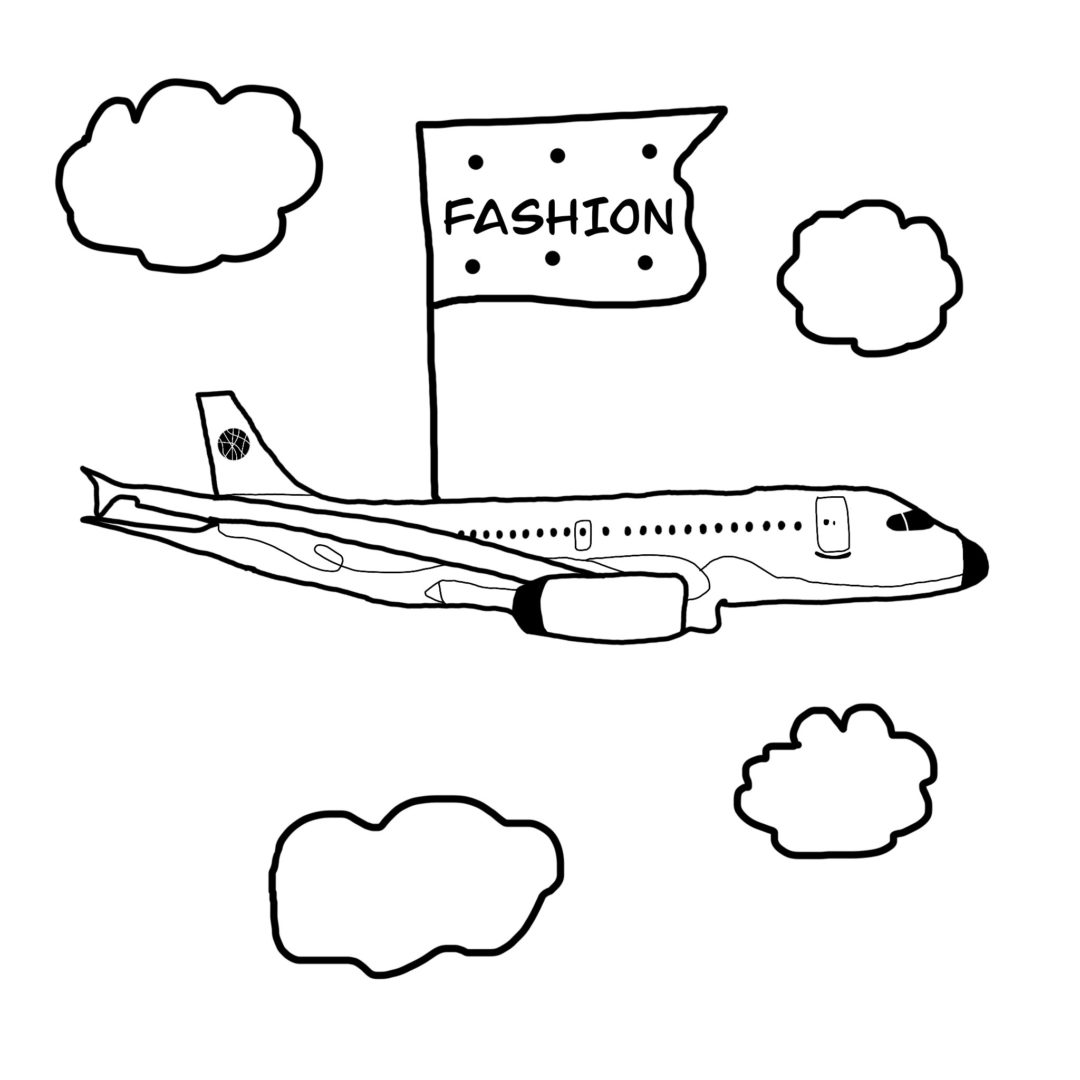 2Goodmedia illustration of A plane used to attend Fashion shows by the fashion illustrator Gabriele Melodia