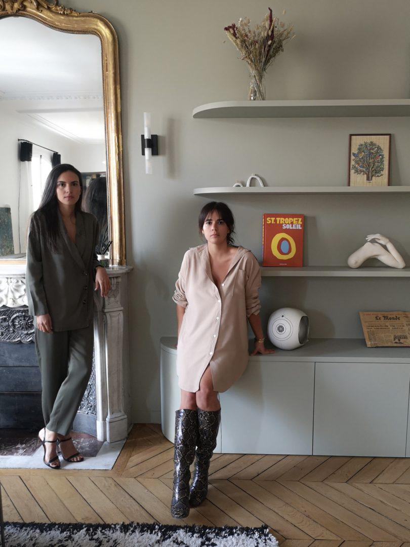 Portraits de Eugenie Faure et Julia Helissey vêtues de la collection de pyjama Quartier Libre Paris
